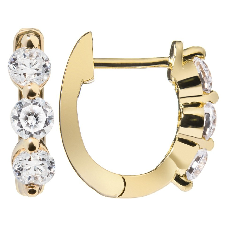 14K Solid Yellow Gold Round Cut Huggie Hoop 3-Stone Cubic Zirconia Earrings (.48 ctw), Gift Box