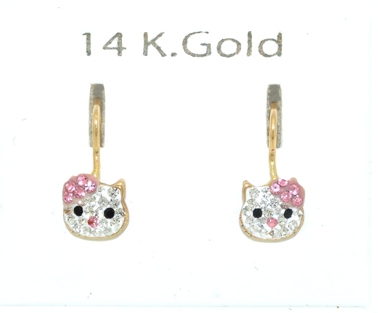 e68e1e3c2 Amazon.com: 14K Yellow Gold Pink CZ Hello Kitty Earrings: Wire Backs:  Jewelry