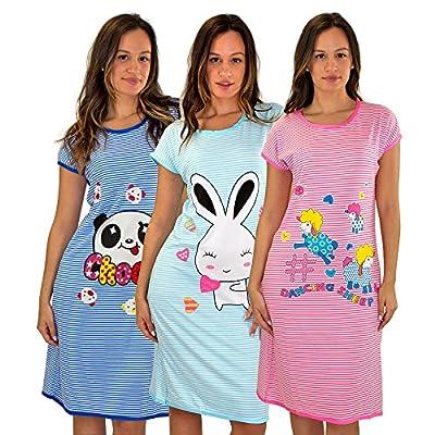3 Pack:Womens Short Sleeve Below The Knee Long Length Nightshirt/Nightgown M-XXL