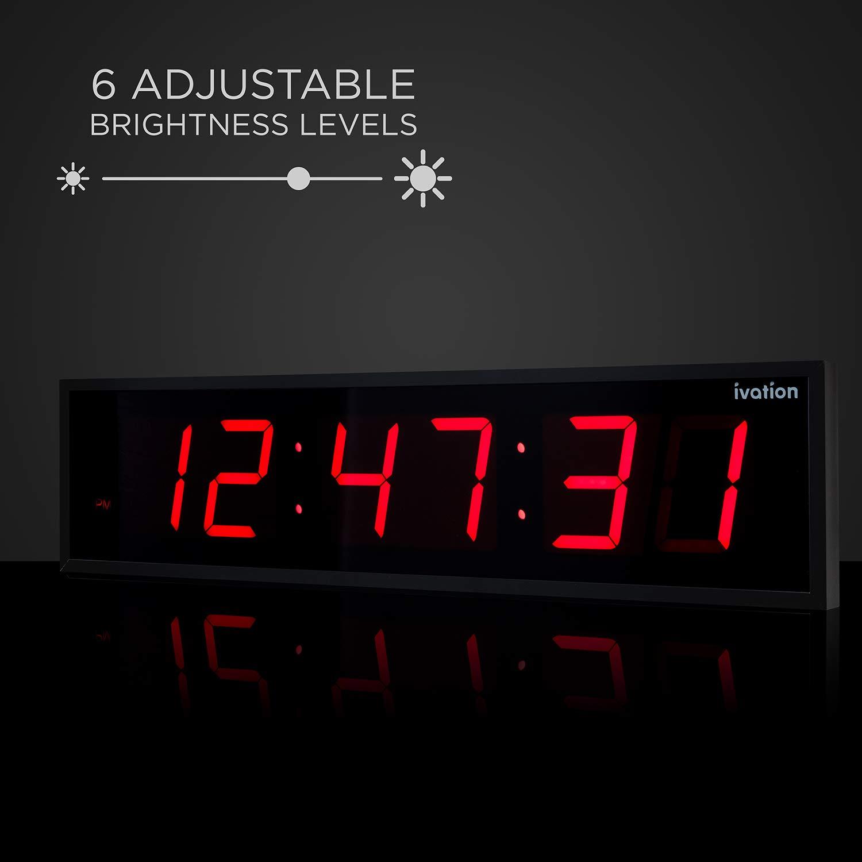 Ivation Huge Large Big Oversized Digital LED Clock - Shelf or Wall Mount (30 Inch - Red) by Ivation (Image #4)