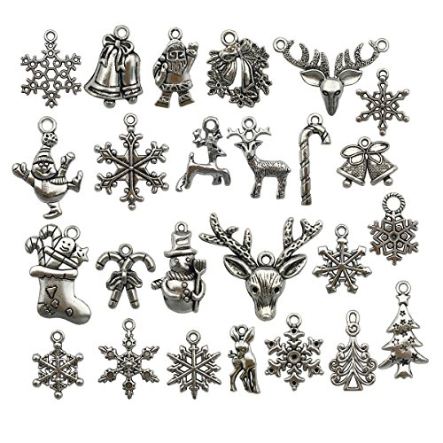 Christmas Charms- 50pcs Mixed Craft Supplies Christmas Tree Snowflakes Deer Bell Stocking Charms Pendants for Crafting, Jewelry Findings Making Accessory for DIY Necklace Bracelet M2