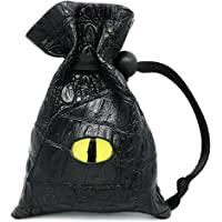 Haxtec Dragon Dice Bag Drawstring Leather DND Dice Pouch Storage Bag for D&D Dices, Coins and Accessories (Yellow Eye)