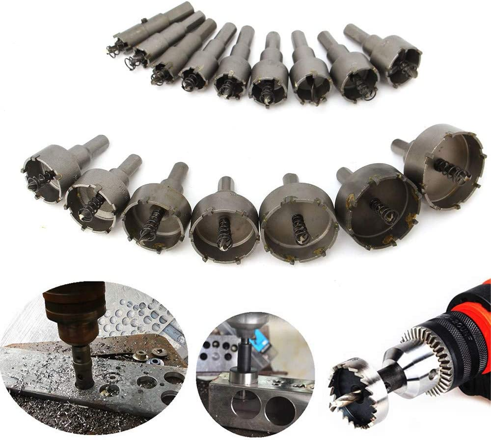 Ywoow 16pcs 15mm - 50mm Steel Carbide Tipped Hole Saw Drill Bit Set Metal Wood Cutter US Warehouse Sending