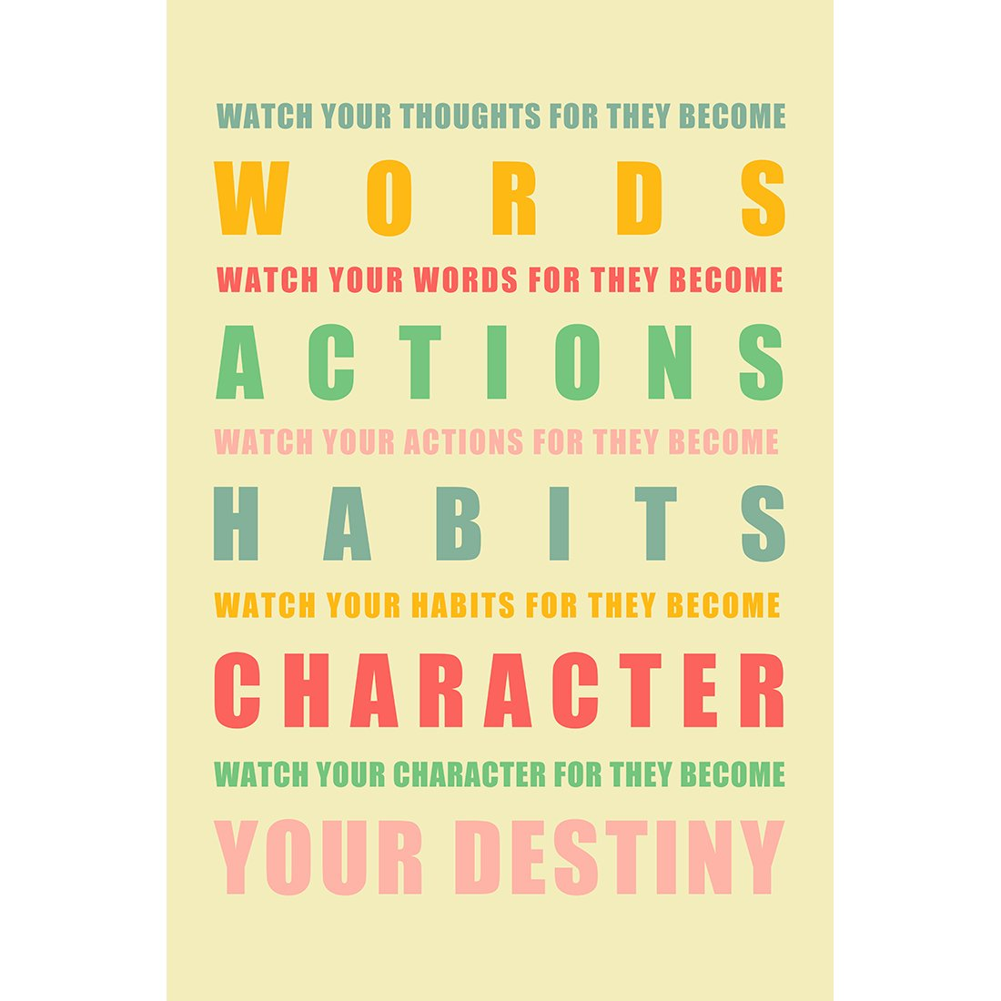 Amazon.com: Meishe Art Watch Your Thoughts Motivational Poster Sign ...
