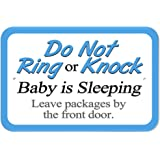 "Plastic Sign Do Not Ring or Knock Baby Sleeping Leave Packages by the Front Door - 6"" x 9"" (15.3cm x 22.9cm)"