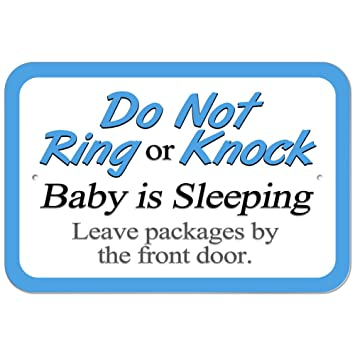 Plastic Sign Do Not Ring Or Knock Baby Sleeping Leave Packages By