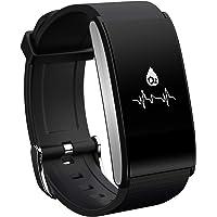 Rorsche 智能手环 金属合金面框 心率检测、血氧检测、血压监测、疲劳度 IP67防水 运动计步睡眠监控 运动时尚外观 (A58 黑色)
