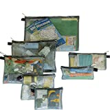Travelon Set of 7 Packing Envelopes, Clear with  Trim, Assorted Sizes