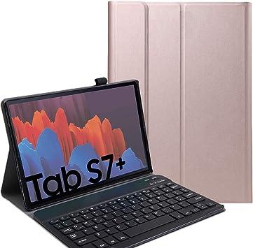 RLTech Funda Teclado Español Ñ para Galaxy Tab S7+, Español Ultra Slim Teclado Keyboard Case con Magnético Desmontable Inalámbrico Bluetooth para ...