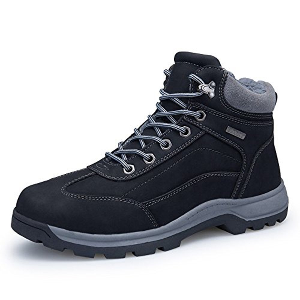 Zenobia Snow Boots for Men Waterproof Leather Fashion Comfortable Outdoor Mens Trekking Hiking Shoes (8058-black-45)