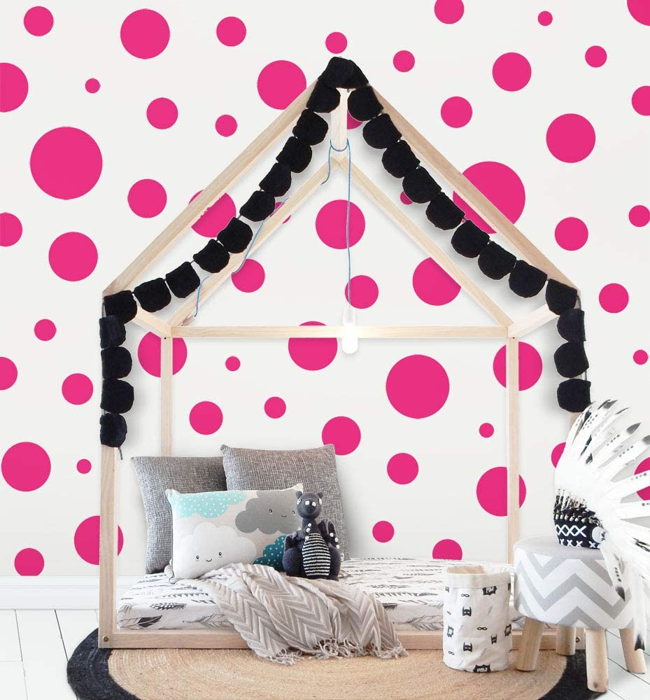 "Polka Dot Wall Decals (63) Girls Room Wall Decor Stickers, Wall Dots, Vinyl Circle Peel & Stick DIY Bedroom, Playroom, Kids Room, Baby Nursery Toddler to Teen Bedroom Decoration 3""-6.5"" (Hot Pink)"