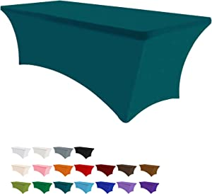Eurmax 4Ft Rectangular Fitted Spandex Tablecloths Wedding Party Patio Table Covers Event Stretchable Tablecloth (Jade Green)