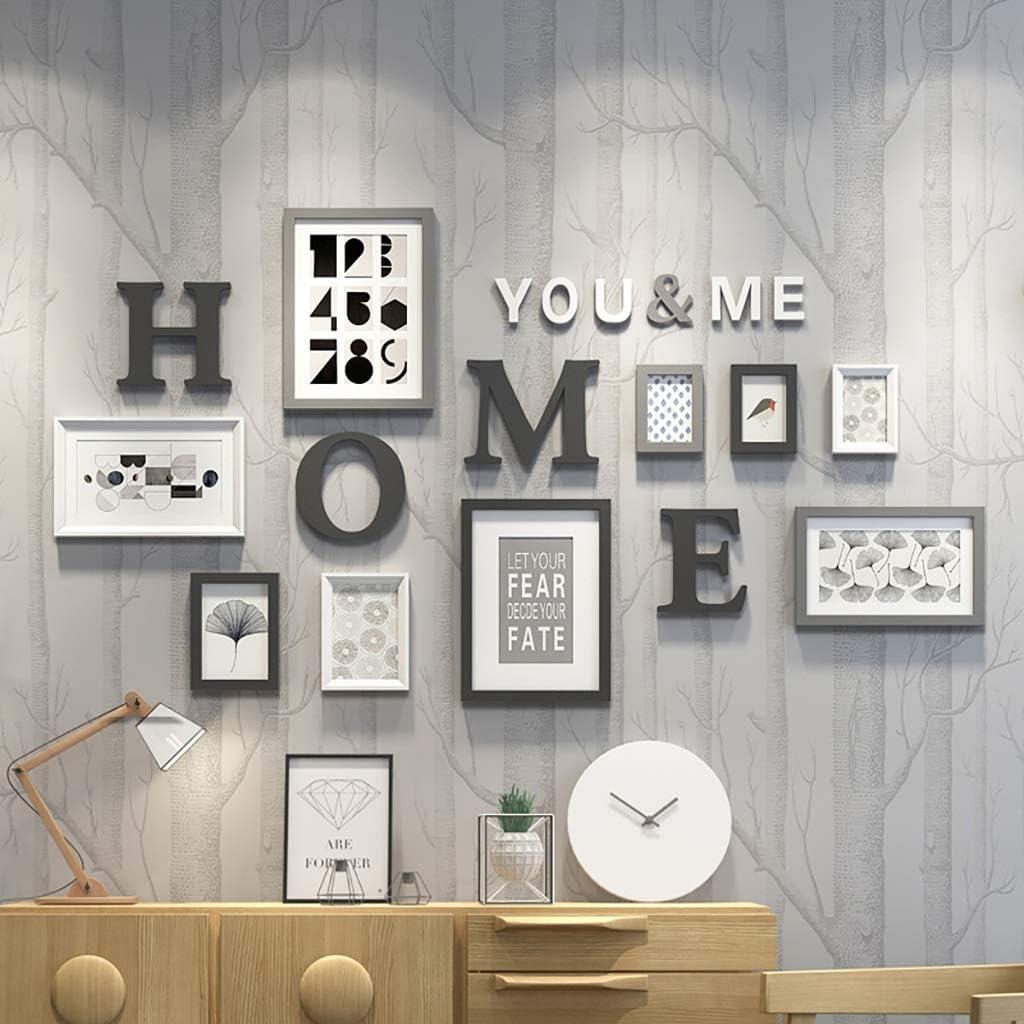 HR Marco de fotos múltiple de color negro con letras a casa y núcleo de arte, marco de pared de 9 piezas