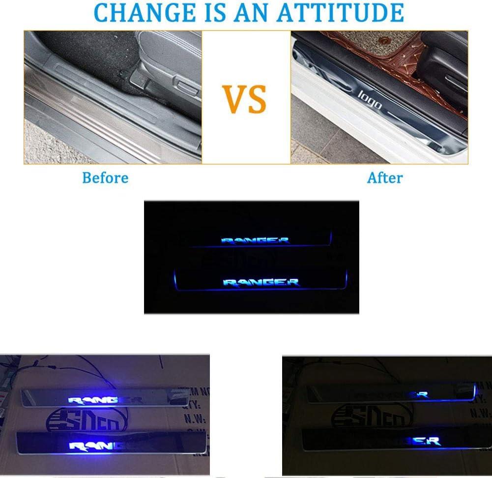 NBVNBV LED-Licht Auto Einstiegsleisten T/ürschwelle Protector Fit f/ür Ford Ranger T7 T8 2015-2019 Dynamisches Begr/ü/ßungslicht Scuff Guard Teller Pedal
