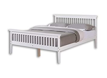 Unmatchable Solid Wood Shaker Bed Frame Double King Size White Or