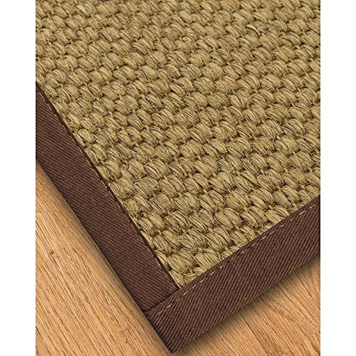 NaturalAreaRugs Natural Fiber Preston Sisal Rug with Wide Canvas Border, Brown, Non Slip Rug Pad Included 8' x - Border Wide Canvas