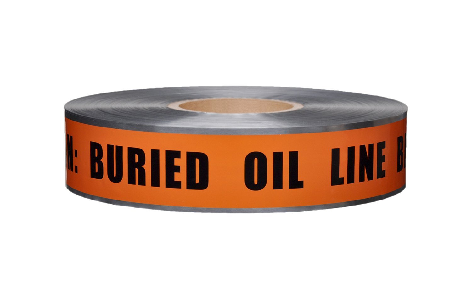 Presco D2105O1056 2'' x 1000' 5 mil Orange Poly/Aluminum Caution Buried Oil Line Below Electric Detectable Underground Tape, 8.5'' Height, 2'' Wide, 8.5'' Length