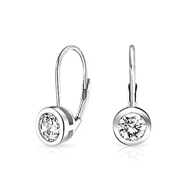 309df5b2b Image Unavailable. Image not available for. Color: Classic Bridal Solitaire Cubic  Zirconia Round Bezel Set Lever Back Drop Earrings For Women 925 Sterling