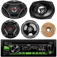 JVC KD-R680S Single DIN In-Dash CD/AM/FM/ Receiver, With or Without SiriusXM Tuner Kit, 2x JVC 300-Watt Peak 6.5 2-Way Speakers, 2x JVC 500-Watt Peak 6x9 3-Way Speakers,Enrock 16-Gauge 50 Foot Wire