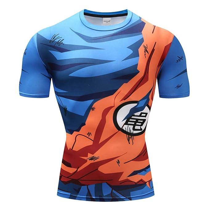 3ffaf308 Lichee Men's 3D Dragon Ball Z Compression Shirts Printed Muscle Goku Tight  Anime Tee