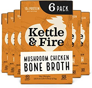 product image for Mushroom Chicken Bone Broth by Kettle and Fire, Pack of 6, Keto Diet, Paleo Friendly, Whole 30 Approved, Gluten Free, with Collagen, 10g of protein, 16.2 fl oz