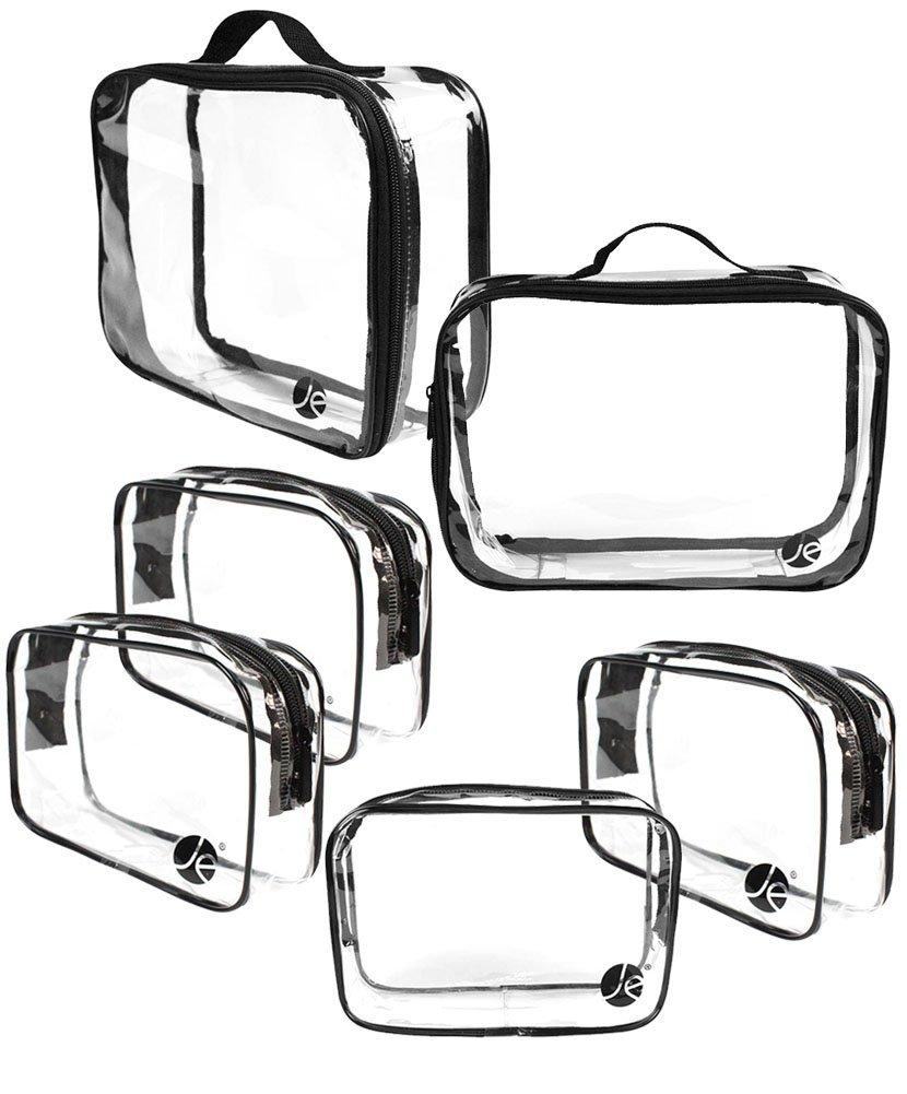 JAVOedge 6 PCS SET 2 qty x Large Size, 4 qty x Small Size Clear PVC Cosmetic Makeup Organizer, Travel Toiletry Bag