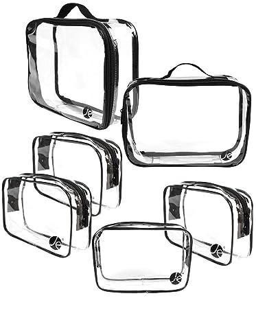 ad9337d1e48e Amazon.com : JAVOedge (6 PCS SET: 2 qty x Large Size, 4 qty x Small Size) Clear  PVC Cosmetic Makeup Organizer, Travel Toiletry Bag : Beauty