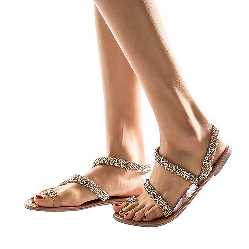 Damen Flache Sandalen Sommer Riemchen Sandaletten Strand Filp Flops Zehentrenner