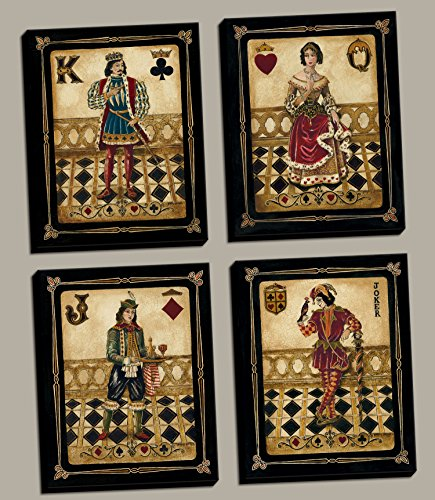 4 Harlequin Playing Card Poker Joker Jack Queen King, 8 x 10 set of 4; Stretched Canvases Ready to hang on your wall! Black/Gold/Red by Gango Editions
