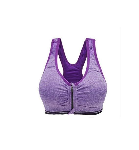 FuweiEncore Sujetador Deportivo Sujetador Deportivo Sujetador de Yoga Cremallera Compresor de amortiguación: Amazon.es: Ropa y accesorios