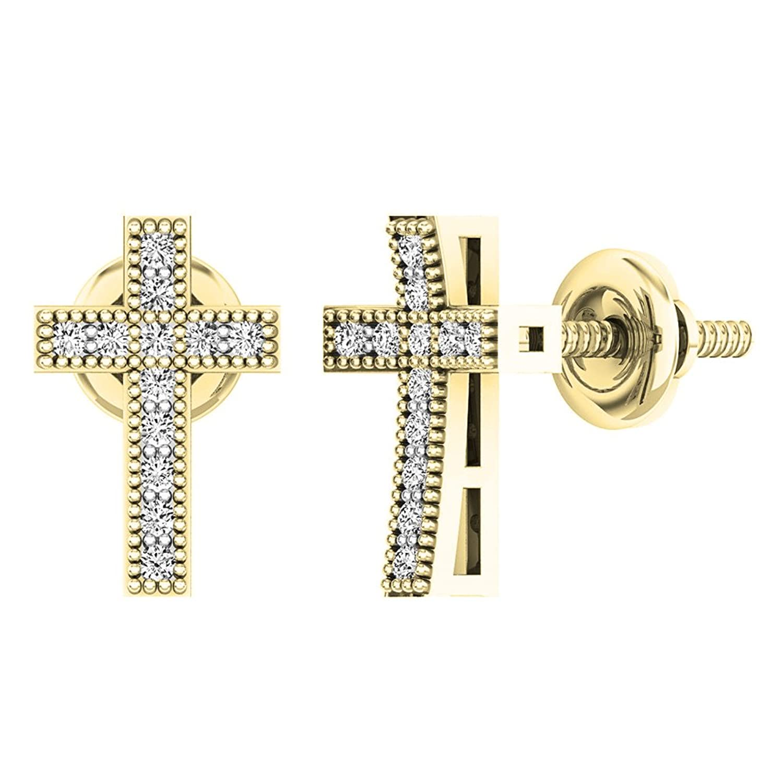 0.12 Carat (ctw) 10K Gold Round White Diamond Ladies Cross Stud Earrings