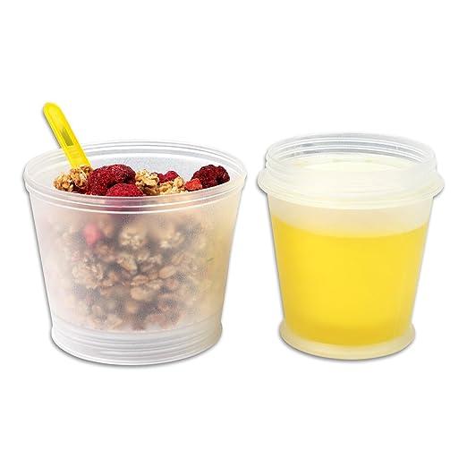 Schramm® Joghurtbecher 7 Farben to go Müsli-to-Go Müslibecher mit integriertem Kühlfach und Löffel Müslischale Joghurt Becher