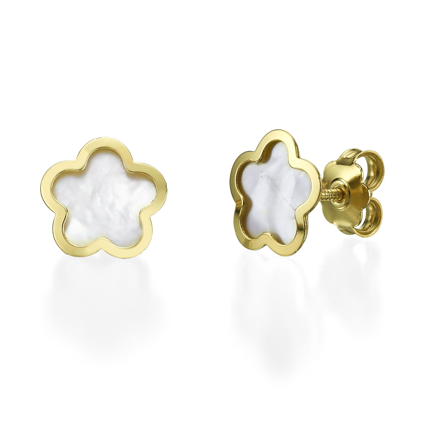 14K Solid Yellow Gold ''Mother of Pearl Flower'' Girls and Teens Screw Back Stud Earrings