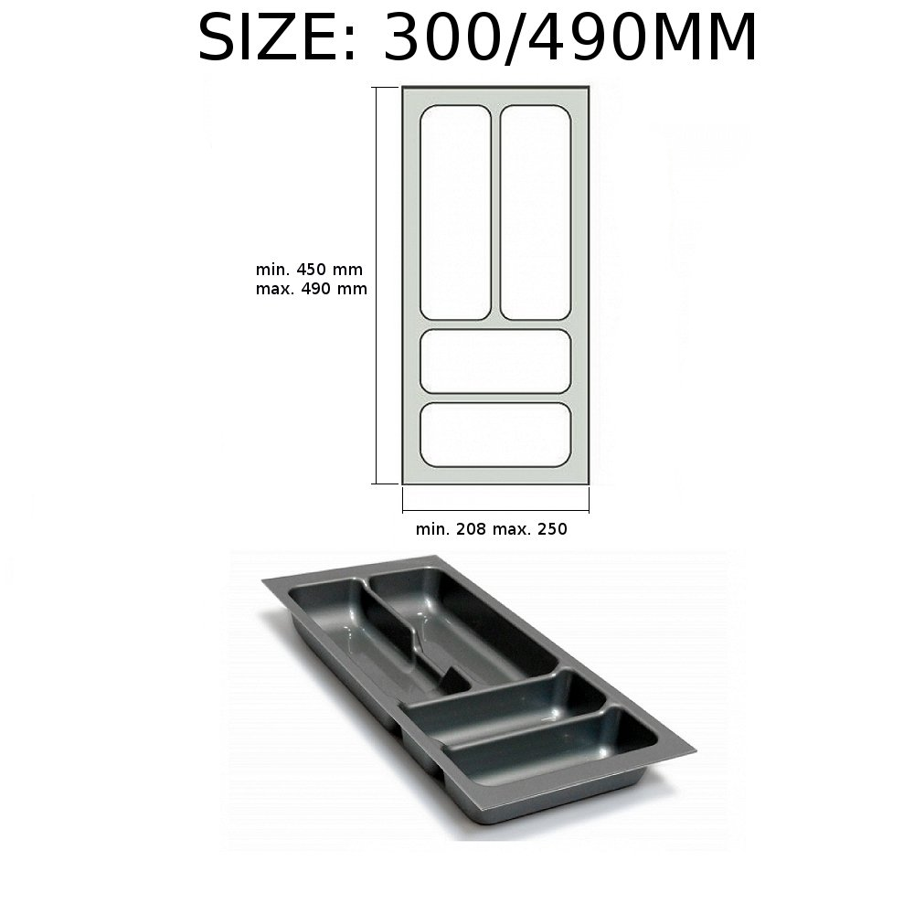 Cutlery Tray Insert for Kitchen Drawers (230/430mm, Grey) GTV