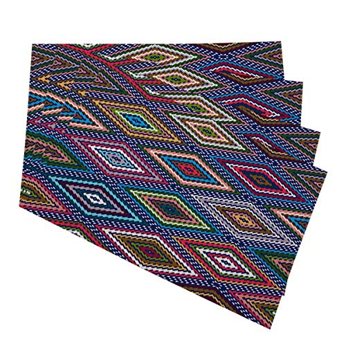 Mugod Abstract Geometric Placemats Colorful Seamless Hand Drawn Boho Modern Batik Pattern Decorative Heat Resistant Non-Slip Washable Place Mats for Kitchen Table Mats Set of 4 12