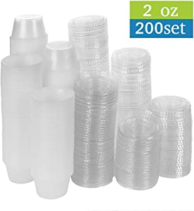 TashiBox 200 Pack of 2-Ounce Disposable Plastic Jello Shot Cups with Lids, Souffle Portion Container, 2 oz-200 Sets, Clear