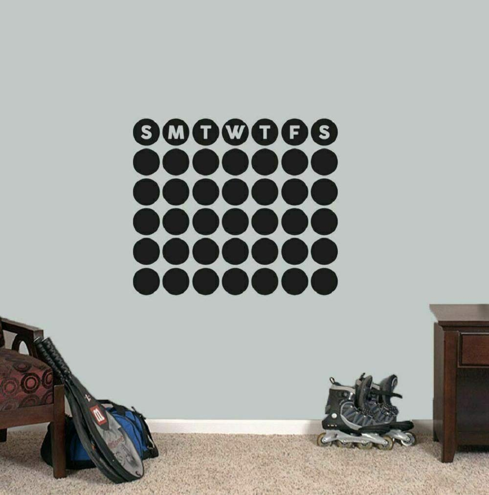 1 PC 20'' Wide X 17''Tall Chalkboard Circle Calendar Wall Decal - Organizational Wall Art Accents Decals