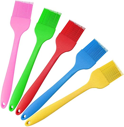 Basting Brush BBQ Sauce Marinade Meat Glazing Oil Brush Heat Resistant Kitchen Cooking Baste Pastries Cakes Meat Desserts Safe 2Pack Spatula Silicone Pastry Silicone Brush for Pastry Baking