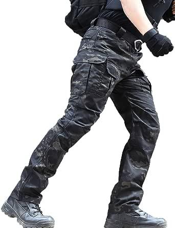 zuoxiangru Pantalones Resistentes al Agua para Hombres Pantalones de Trabajo de Carga Militar de Combate táctico de Ajuste Relajado con Bolsillo múltiple