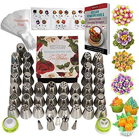 DELUXE Russian Piping Tips Icing Tips Frosting Tips Cake Decorating Supplies 75pcs Baking Supplies Set 42 Frosting Icing Nozzles 31 Baking Pastry Bags 2 Sphere Ball Tips GIFT Box Cake Decorating Kit