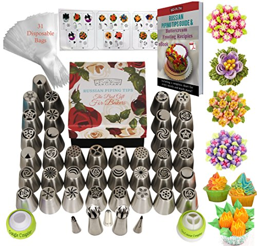 DELUXE Russian Piping Tips Icing tips Frosting tips Cake Decorating Supplies 75pcs Baking Supplies Set 42 Frosting Icing Nozzles +31 Baking Pastry Bags+ 2 Sphere Ball Tips GIFT Box Cake Decorating Kit