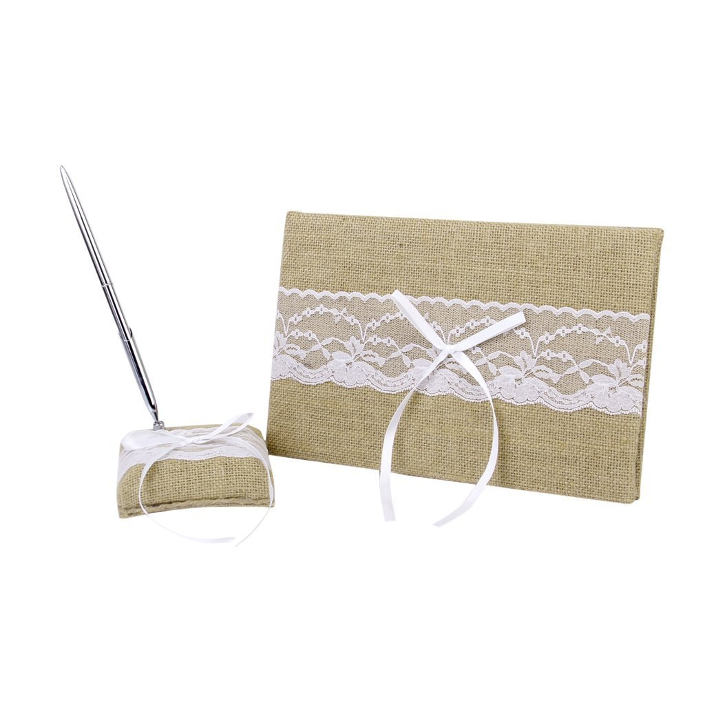 Great Chance Burlap Lace Bowtie Rustic Guest Book & Pen Stand Set Bridal Favors Wedding Supply by Great Chance