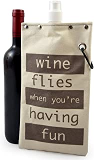 product image for Totable Canvas Canteen Flask for Wine and Beverages, 750ml (25oz) Volume (Wine Flies)