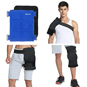 """WORLD-BIO Large Flexible Gel Ice Pack & Wrap for Injuries, Hot & Cold Therapy for Shoulder, Back, Knee, Hip, Great Relief for Swelling, Aches, Bruises & Sprains - 15"""" x 11.5"""""""