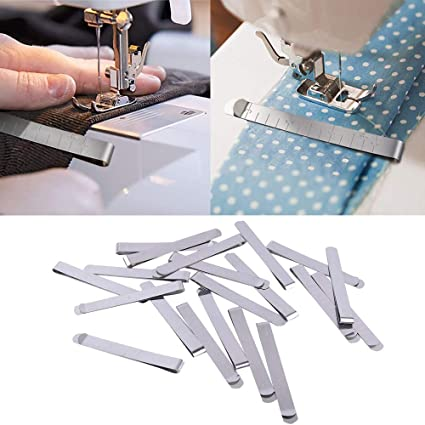 20pcs DIY Hand Sewing Hemming Clips Measure Marking Ruler Guides Stainless Steel