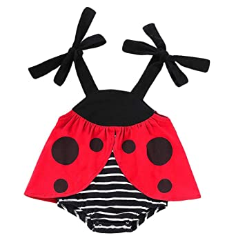 6527a8f9330 Newborn Infant Baby Boys Girls Summer Clothes Ladybug Costume Outfit  Sleeveless Romper Bodysuit Striped (red