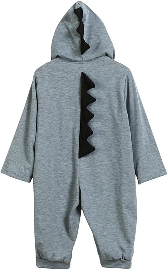 HANYI Infant Baby Boy Girls Set Button Front Dinosaur Hooded Romper Jumpsuit Outfits Tracksuit Pajama Sets