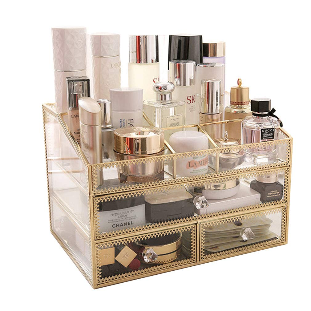 Makeup Organizers Cosmetics Storage Drawers, Clear, Jewelry Display Boxes Case Countertop Lipstick Nail Polish Hairpins, Great Gift (Glass)