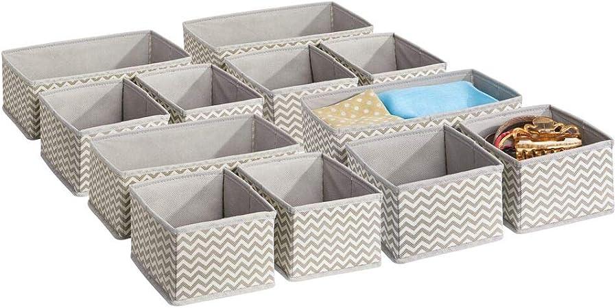 mDesign Juego de 12 cajas organizadoras en tela - Organizadores para armarios o cajones - Caja para organizar ropa y armarios - Ocho cajas pequeñas y cuatro grandes - topo/natural: Amazon.es: Hogar
