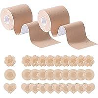 HSAJS 2 Borst tape15 Paar Tepelhoezen, Boob Tapeet, Zelfklevende Borstlift Tape Beha voor A-E Cup, Ademende Borstlift…